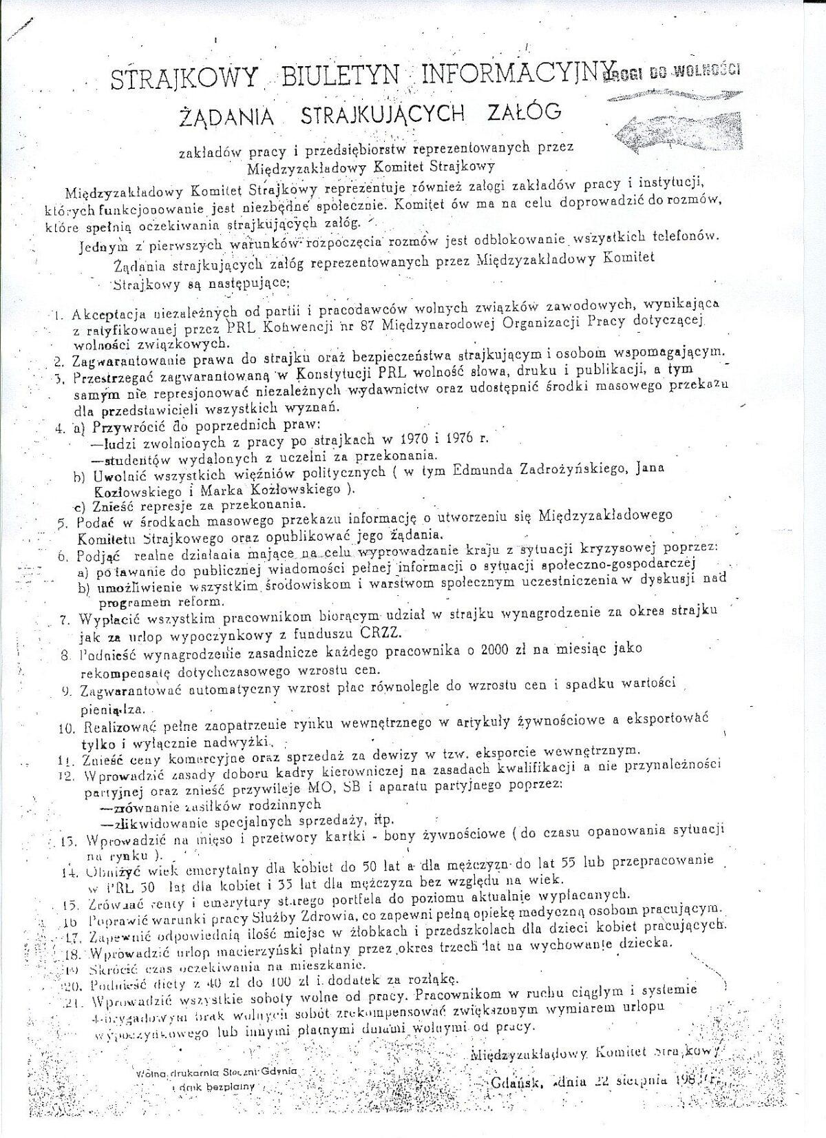 Ke 40. výročí Gdaňských dohod ze 30. srpna 1980